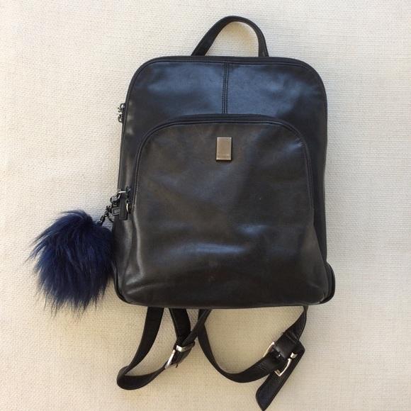 Vtg Perlina Black Leather Backpack Purse Bag. M 580d15add14d7bcbb50115b2 427f9af33cb34