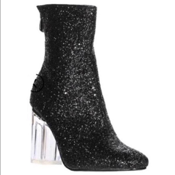 a716f9d6bf9 * 1 DAY SALE* Clear Plexi Heel Glitter Black Boots Boutique