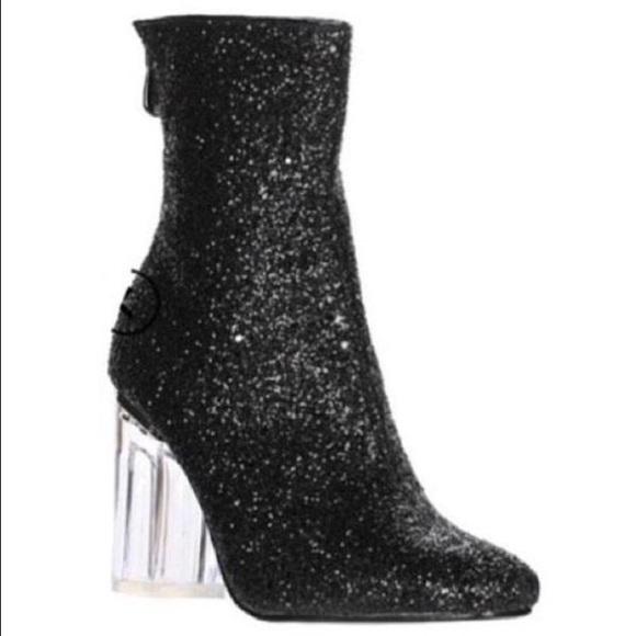 c70b22d7917 * 1 DAY SALE* Clear Plexi Heel Glitter Black Boots Boutique
