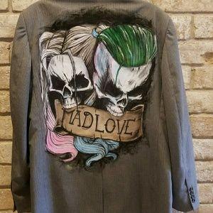 Other - M/F custom art jacket with Harley Quinn &Joker