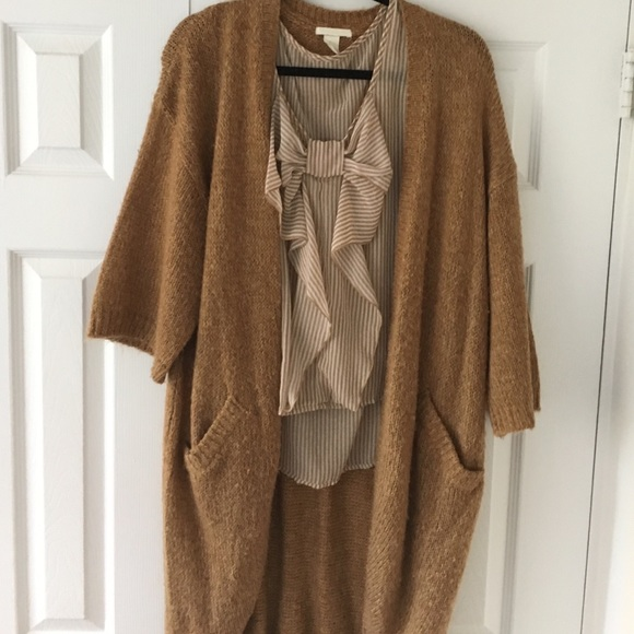 50% off H&M Sweaters - Light brown long cardigan from Kelsey's ...