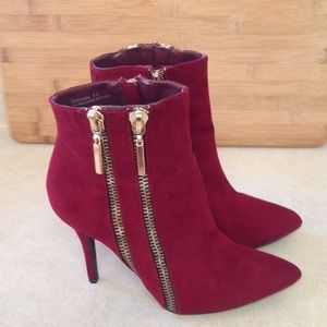 Dollhouse Shoes - Dollhouse Burgundy and Gold Zip Up Booties,SZ 7.5M