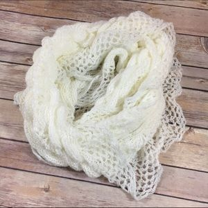 Claire's Soft Pink Crocheted Lace Infinity Scarf