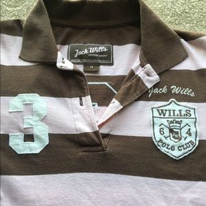 Jack Wills/ Womens Pitcher Knit Stripe Rugby Top Button Placket