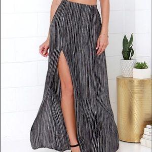 Stripe Left or Right Black and White Striped Maxi