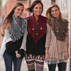 Infinity Raine Accessories - New Cotton Button Shawl 