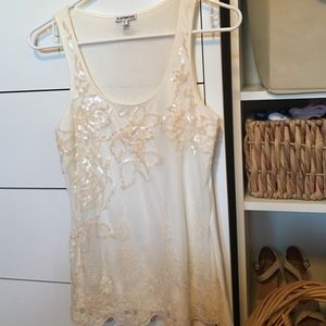 Like new! White/ivory sequined top with lace trim