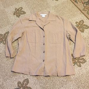 Anna and Frank Tops - Tan Silk Button a Down Top- Size S