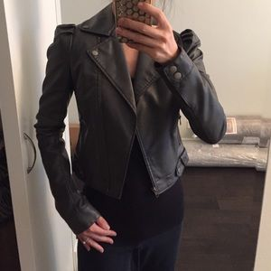 Faux Cropped Gray Leather Moto Jacket XS