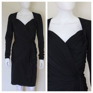 Vintage 1980's Black Ruched Long Sleeve Dress
