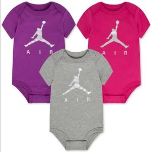 Jordan Baby Girls' 3 pack assorted bodysuits