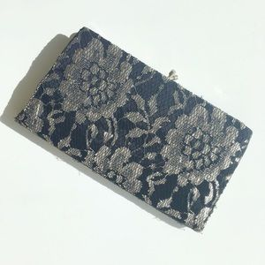 Beautiful Vintage Black and White Lace Clutch