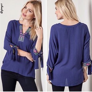 UMGEE  Boho Chic Embroidered V-Neck Tie-Sleeve Top