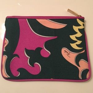 Emilio Pucci Handbags - Pucci Canvas and Leather Zip Pouch