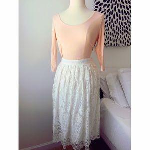 Forever 21 Scoop neck Top and White LACE Skirt