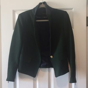 Zara Jackets & Blazers - Zara Forest Green Blazer with Felt Neck Size M