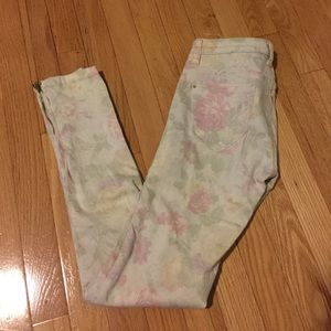 ZARA floral denim jeans with ankle zip size 2