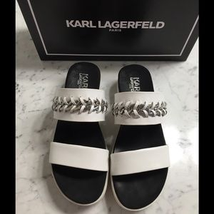 Karl Lagerfeld Shoes - White Flatform Sandals with Chain Detail