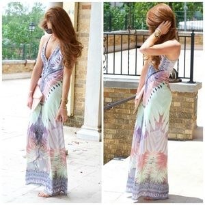 Hale Bob Dresses & Skirts - Hale Bob Feather Printed Maxi Dress