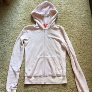 pink terry cotton hoodie with graphics