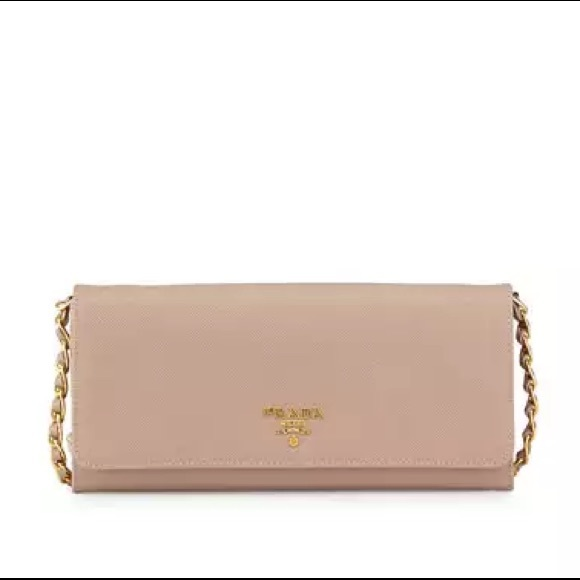 0209453edd79 Prada Bags | Saffiano Wallet On Chain In Blush Cammeo | Poshmark
