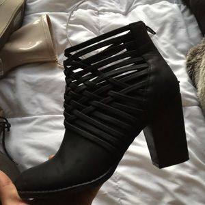 Black Cut Out Heeled Booties