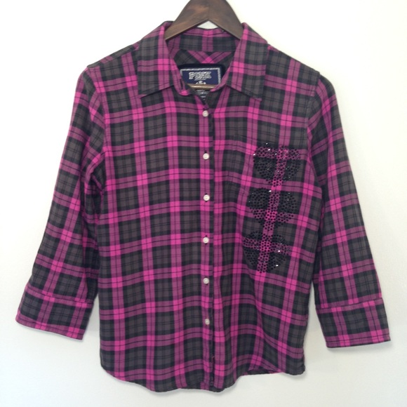 70% off PINK Victoria's Secret Tops - Pink VS Plaid Flannel Shirt ...