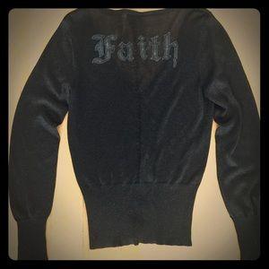 Sweaters - Large black cardigan sweater top pinup sheer
