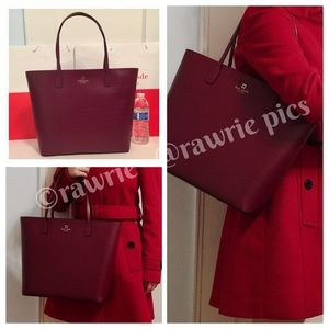 New Kate Spade burgundy leather large zip top tote