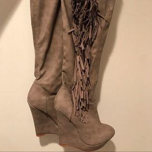Victoria's Secret Tan Fringe Over-the-Knee Boots