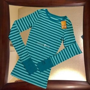 Teal striped thermal long sleeve