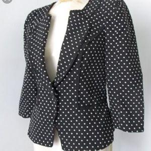 WHBM peplum black white polka dot jacket. S