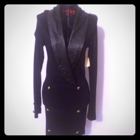 f7ed76106a Sexy Tuxedo Dress - Black with gold buttons