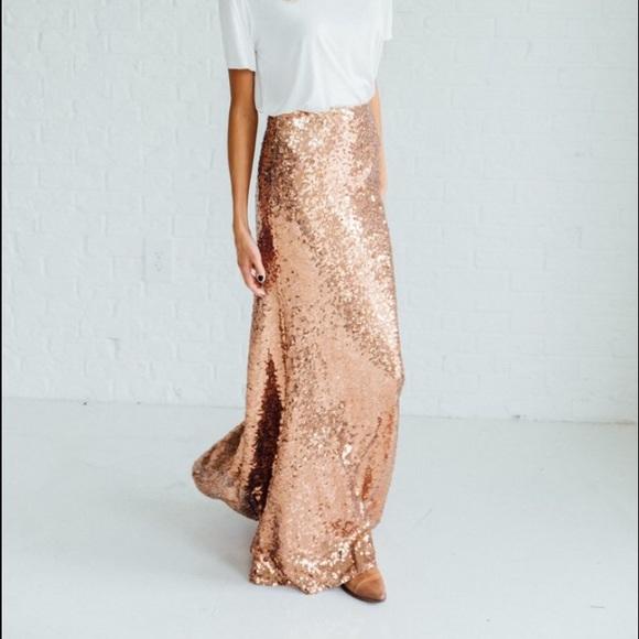 4f98290218 Rose Gold Sequin Maxi Skirt
