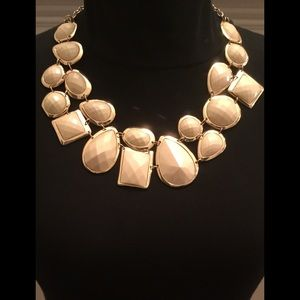 NATASHA Gold & Nude Statement Necklace.