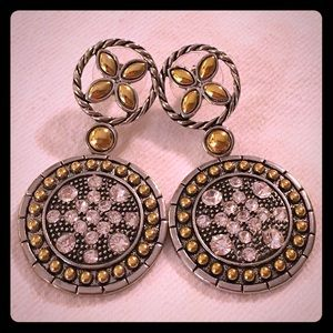 Gold and silver tone earrings