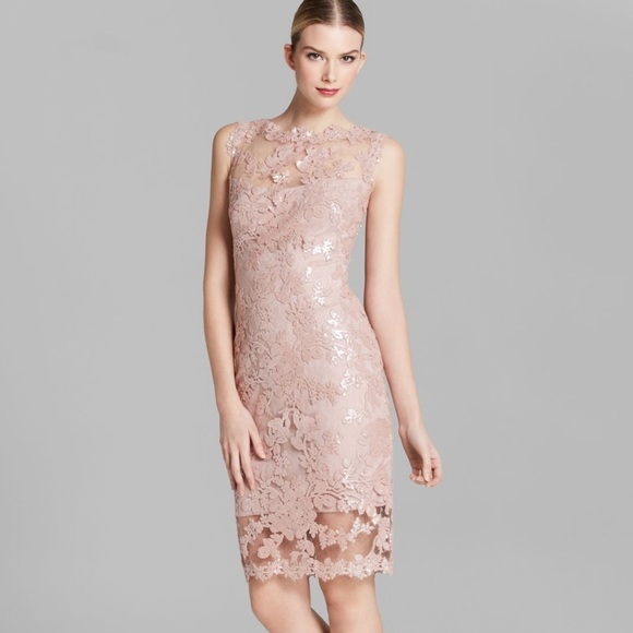 abef6078b Tadashi Shoji Pink Scalloped Lace Sheath Dress. M 580d71114e95a34325024512