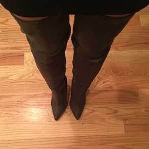 Olive green faux suede over the knee boots