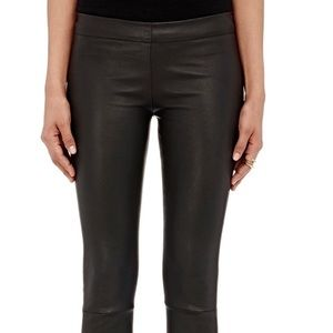 The Row Pants - The Row Stretch Leather Leggins brown