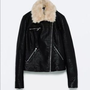 Zara faux Leather Jacket with Fur included