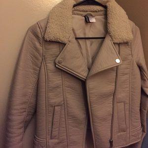H&M beige biker jacket