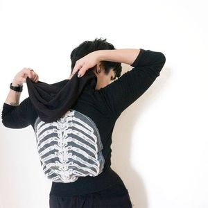 Tops - Lace Ribcage Mesh Long Sleeve Shirt