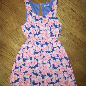 bright blue and hot pink floral dress