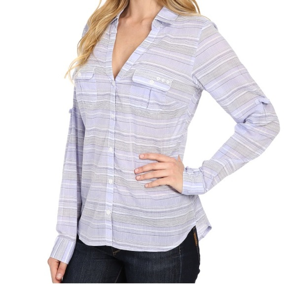 9db0f28112c281 NWOT Columbia Sun Drifter shirt pale purple stripe