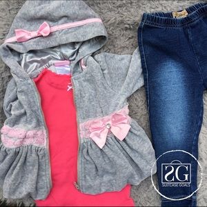 Guess Other - Pink Bow Jacket, Guess Jeans & Bodysuit Bundle.