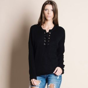 Bare Anthology Sweaters - Eyelet Lace Up Sweater