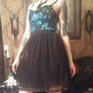 Boutique skirt! Black tulle and ribbon!