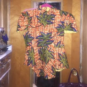 African wax Asymmetrical High Low Top