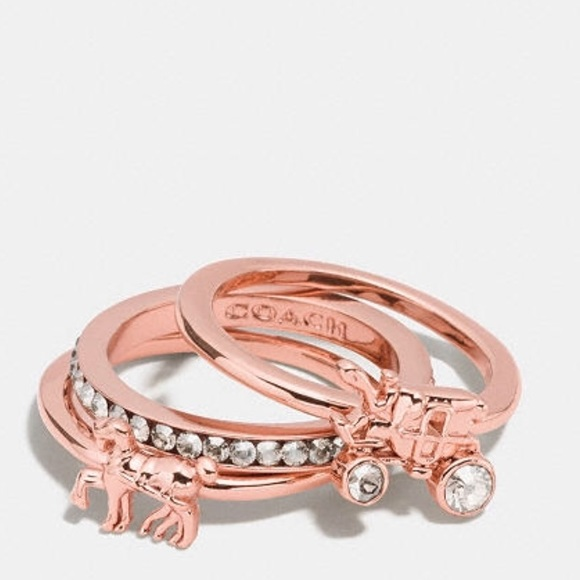 Coach Jewelry Pave Horse And Carriage Ring Set Rose Gold Poshmark