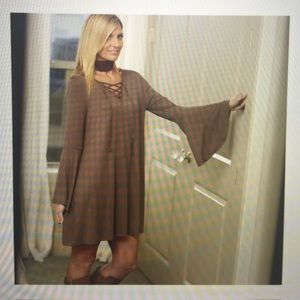 HP 12-31-19 taupe lace tie up bell sleeve Dress